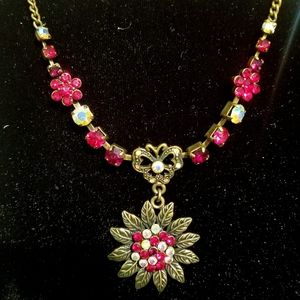 Genuine Crystal Floral Pendant Necklace